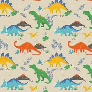 Jurassic Dinosaurs on Beige