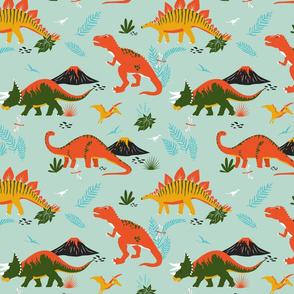Jurassic Dinosaurs in Red + Green