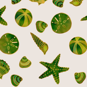 Beach Treasures Green Watercolor Seashells