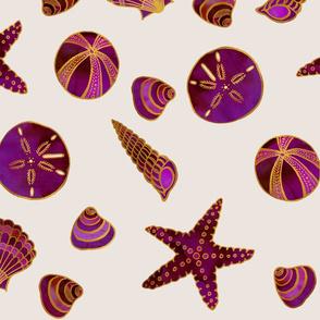 Beach Treasures Red Watercolor Seashells