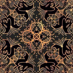 Mandala Lotus Black + Gold