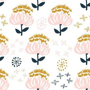 "6"" Gold Pink and Navy Florals"