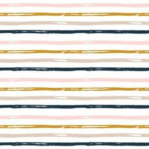 "6"" Gold Pink Navy Tan Stripes"