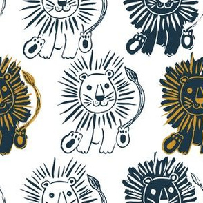"""6"""" Navy and Gold Lions"""