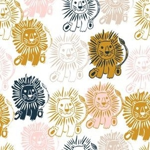 """6"""" Navy Gold Pink and Tan Lions"""