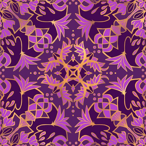 Mandala Lotus  Purple + Gold