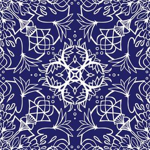 Mandala Lotus Navy + White
