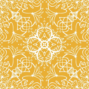 Mandala Lotus Sunny Yellow + White