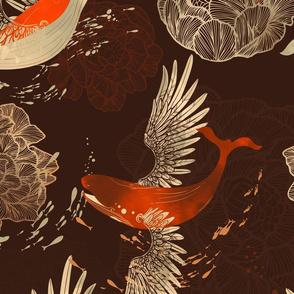 Whales and flowers dark orange