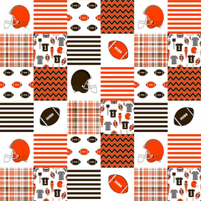 "browns quilt  fabric - 3"" blocks - brown and orange fabric, football fabric, american football fabric, cleveland"