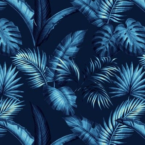 Fronds - Navy Blue