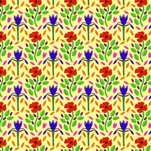 Poppies & Irises - modern Folk Art - small, yellow