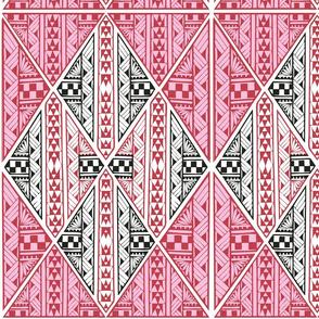 Hawaiian tattoo triangles-red-pink-black