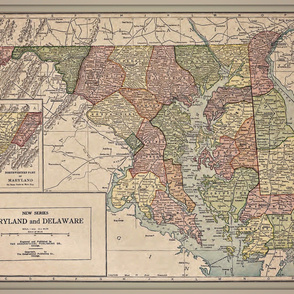 Maryland and Delaware, vintage map, large