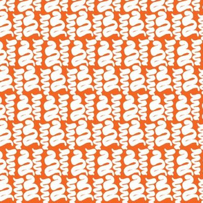 RETRO SQUIGGLES II - WHITE ON ORANGE