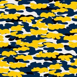 michigan camo - maize and navy camo, camouflage fabric
