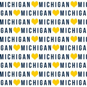 michigan heart fabric - michigan fabric, school fabric, college football fabric