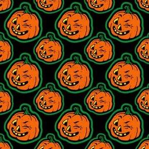 Retro Winking Halloween Pumpkin