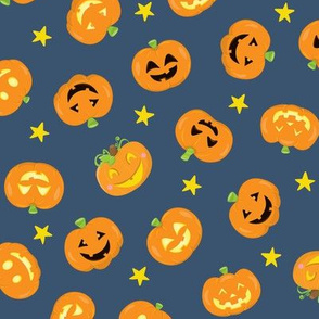 Pumpkins On Navy Blue