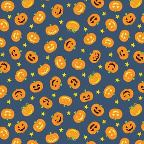 Pumpkins On Navy Blue Small