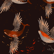 Flying whales pattern in dark brown background