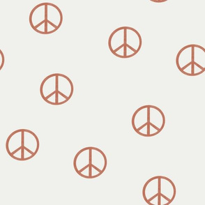 peace sign fabric - apricot sfx1436-  boho hippie fabric, earth toned kids bedding, neutral nursery fabric