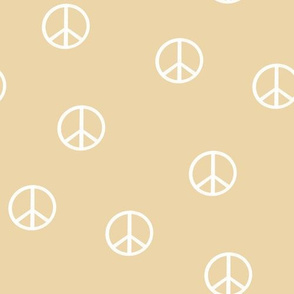 peace sign fabric - chamomile  sfx0916 -  boho hippie fabric, earth toned kids bedding, neutral nursery fabric