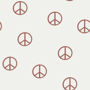 peace sign fabric - redwood sfx1443 -  boho hippie fabric, earth toned kids bedding, neutral nursery fabric