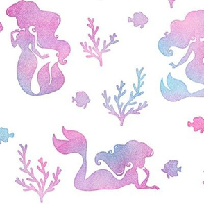 Magical Mermaid Pattern with Fish & Coral in Watercolor