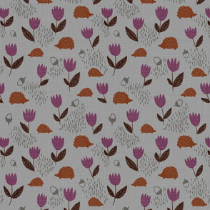 Susanna hedgehogs in the woods - gray