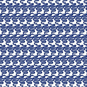 RETRO SQUIGGLES - BLUE ON WHITE