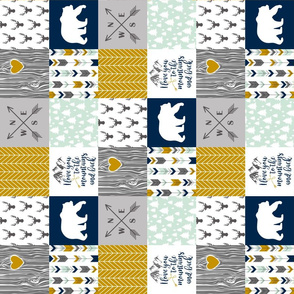 3 inch Modified Love you to the mountains - Navy/Mustard/Mint - Rotated