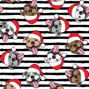 Christmas Pit bulls - Santa hats - pitties - black stripes toss - Christmas dogs - LAD19