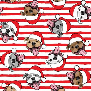 Christmas Pit bulls - Santa hats - pitties - red stripes toss - Christmas dogs - LAD19