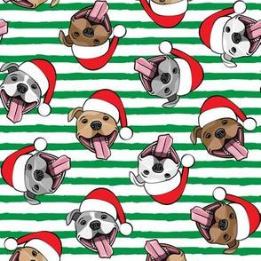 Christmas Pit bulls - Santa hats - pitties - green stripes toss - Christmas dogs - LAD19