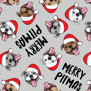 Merry Pitmas - pit bull Santa hats - pitties - grey toss - Christmas dogs - LAD19