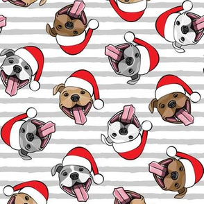 Christmas Pit bulls - Santa hats - pitties - grey stripes - Christmas dogs - LAD19