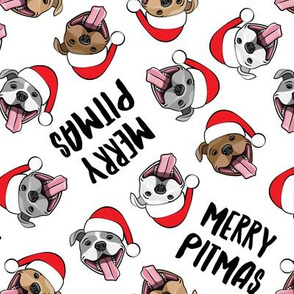 Merry Pitmas - pit bull Santa hats - pitties - white toss - Christmas dogs - LAD19
