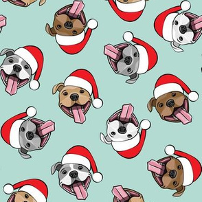 Christmas Pit bulls - Santa hats - pitties - mint toss - Christmas dogs - LAD19
