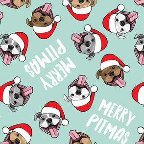 Merry Pitmas - pit bull Santa hats - pitties - mint toss - Christmas dogs - LAD19