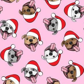 Christmas Pit bulls - Santa hats - pitties - pink toss - Christmas dogs - LAD19