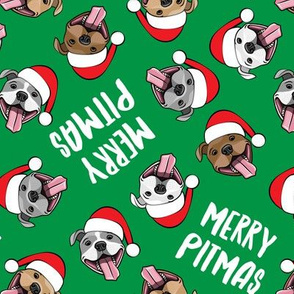 Merry Pitmas - pit bull Santa hats - pitties - green toss - Christmas dogs - LAD19