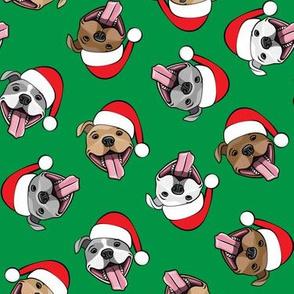 Christmas Pit bulls - Santa hats - pitties - green toss - Christmas dogs - LAD19