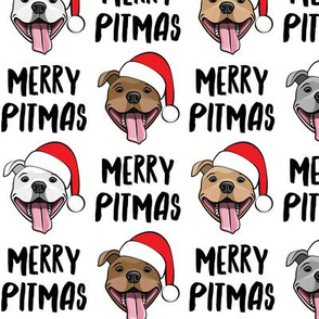 Merry Pitmas - pit bull Santa hats - pitties - white - Christmas dogs - LAD19