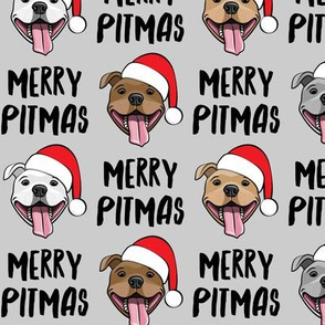 Merry Pitmas - pit bull Santa hats - pitties - grey - Christmas dogs - LAD19