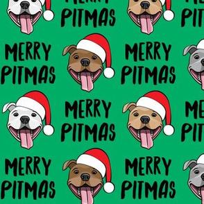 Merry Pitmas - pit bull Santa hats - pitties - green w/ black - Christmas dogs - LAD19