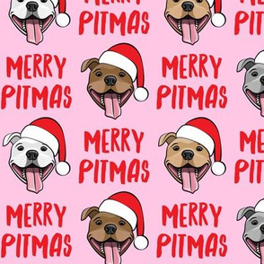 Merry Pitmas - pit bull Santa hats - pitties - pink - Christmas dogs - LAD19