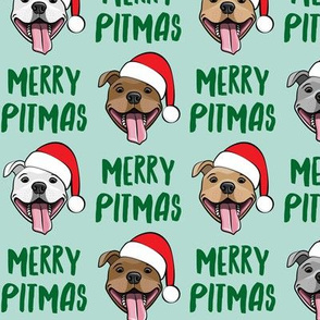 Merry Pitmas - pit bull Santa hats - pitties - mint  - Christmas dogs - LAD19