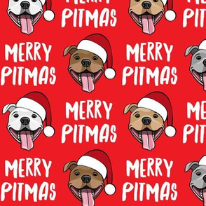 Merry Pitmas - pit bull Santa hats - pitties - red - Christmas dogs - LAD19