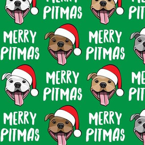Merry Pitmas - pit bull Santa hats - pitties - green - Christmas dogs - LAD19